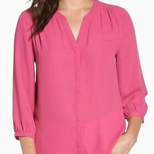 NYDJ Bright Pink Pleated 3/4 Sleeve Tunic Top